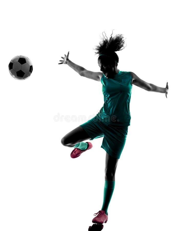 Lokalisiertes Schattenbild des Jugendlichmädchen-Fußballspielers lizenzfreie stockbilder