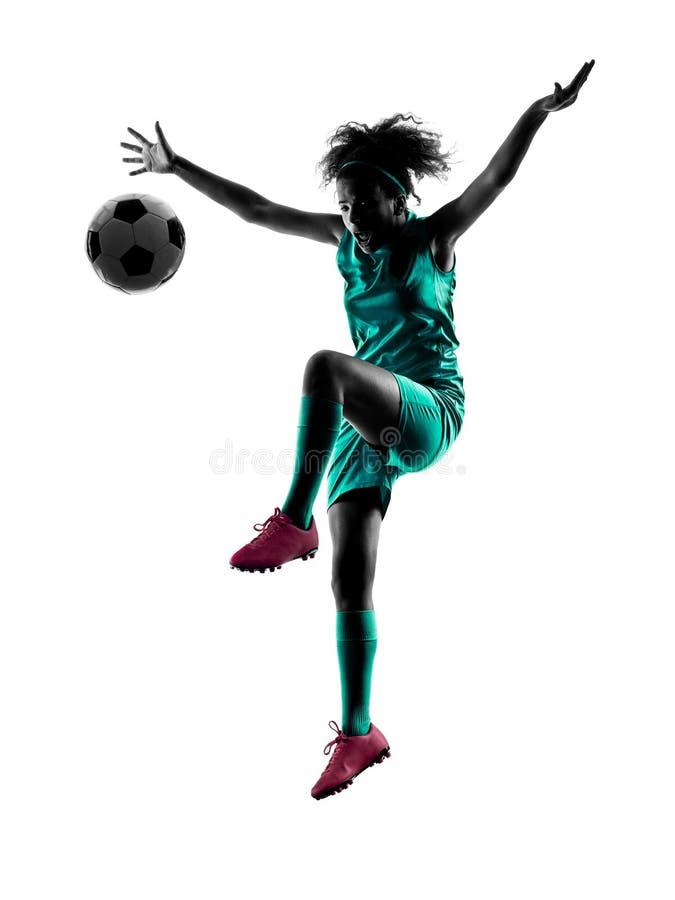 Lokalisiertes Schattenbild des Jugendlichmädchen-Fußballspielers stockbild