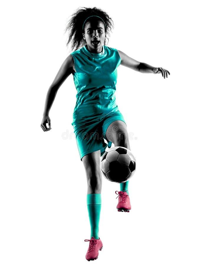 Lokalisiertes Schattenbild des Jugendlichmädchen-Fußballspielers stockfotografie