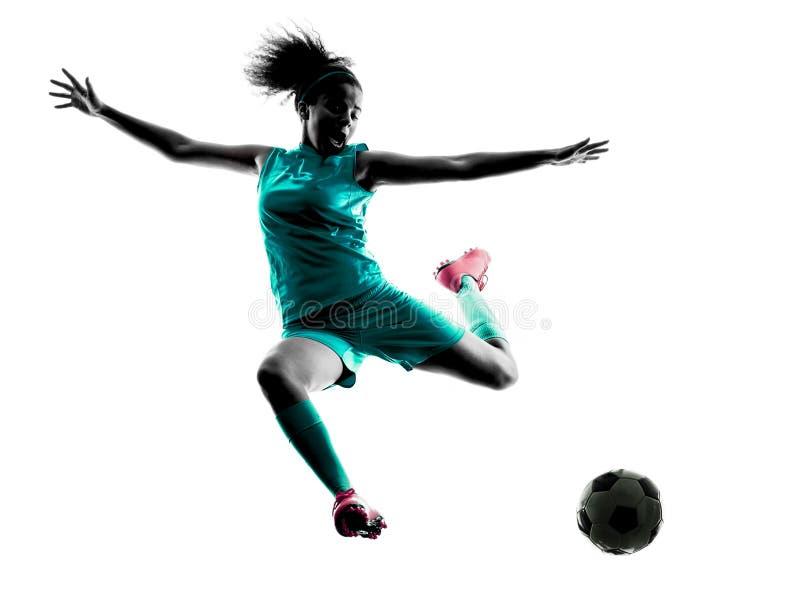 Lokalisiertes Schattenbild des Jugendlichmädchenkinderfußballspielers lizenzfreies stockbild