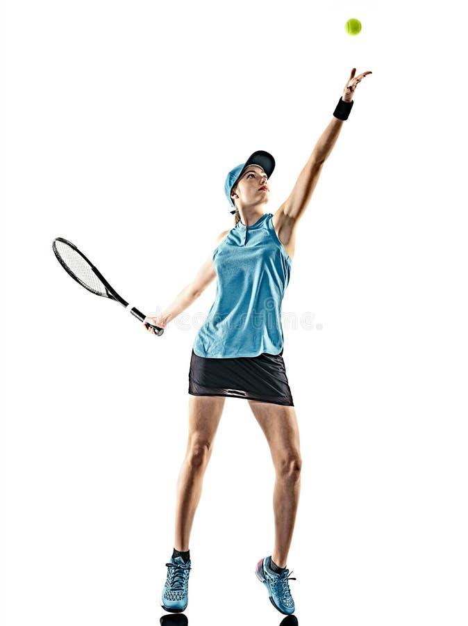 Lokalisiertes Schattenbild des Tennis Frau stockfotografie