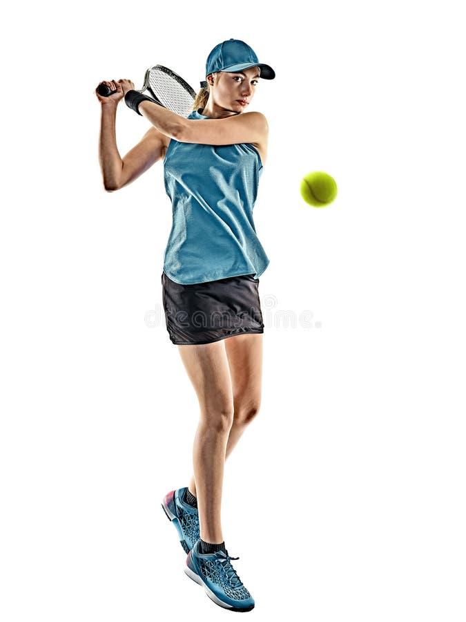 Lokalisiertes Schattenbild des Tennis Frau lizenzfreie stockfotos