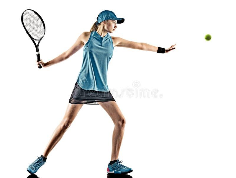 Lokalisiertes Schattenbild des Tennis Frau lizenzfreie stockfotografie