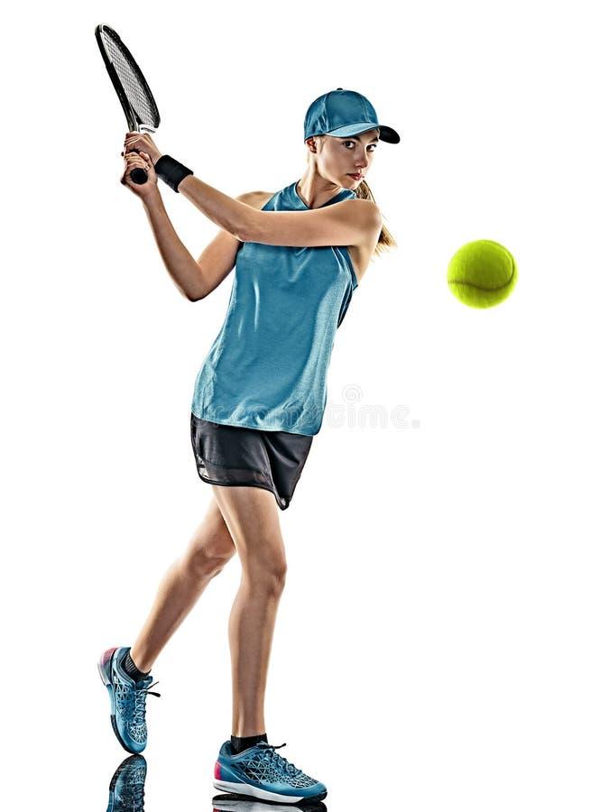 Lokalisiertes Schattenbild des Tennis Frau lizenzfreie stockbilder