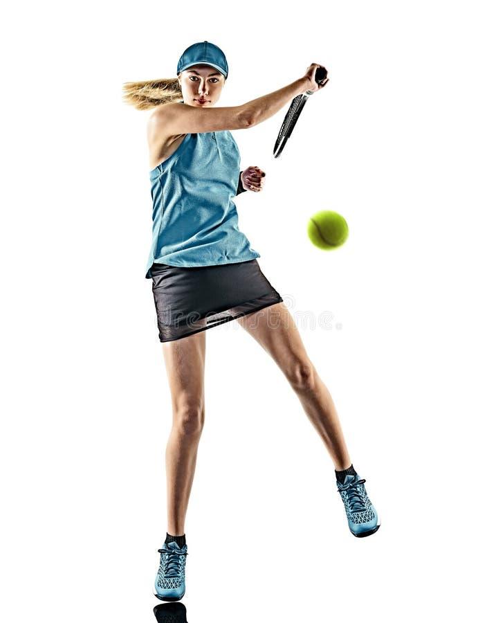 Lokalisiertes Schattenbild des Tennis Frau stockfotos