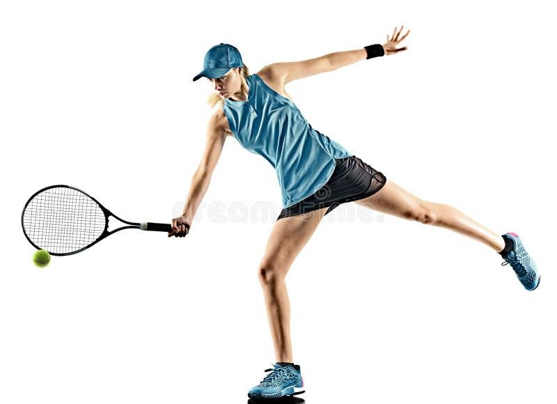 Lokalisiertes Schattenbild des Tennis Frau lizenzfreies stockbild