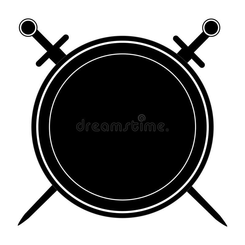 Lokalisiertes schwarzes Schild und zwei Klingen auf weißem Hintergrund Vektorillustration des Schildes und der Klingen Emblem, Sy vektor abbildung