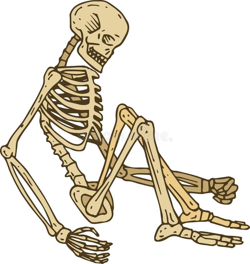 Lokalisiertes sitzendes Skelett stock abbildung