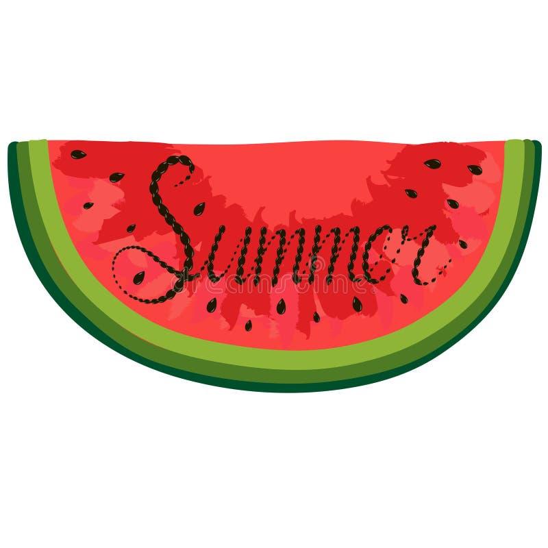 Lokalisiertes Stück der roten Aquarellwassermelone, die mit Sommer innerhalb des Wortes beschriftet lizenzfreie abbildung