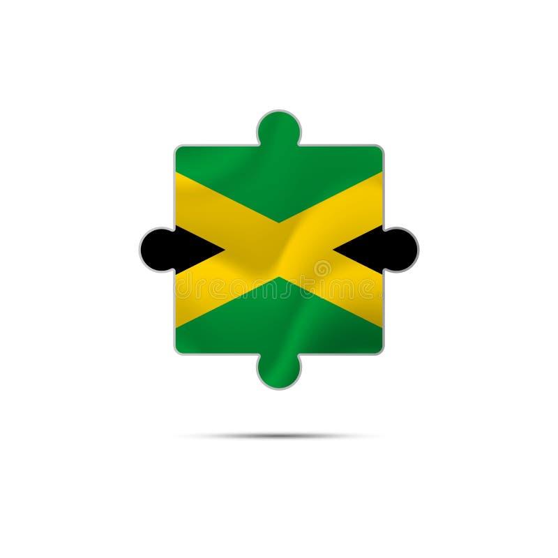 Lokalisiertes Stück des Puzzlespiels mit der Jamaika-Flagge Vektor stock abbildung