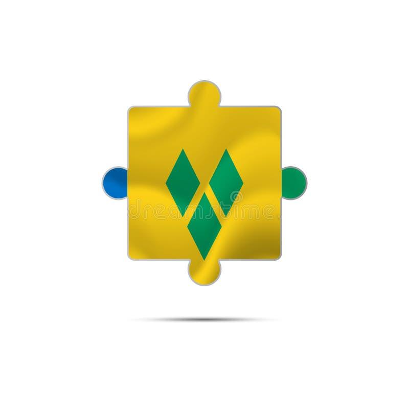 Lokalisiertes Stück des Puzzlespiels mit der St. Vincent und die Grenadinen Flagge Auch im corel abgehobenen Betrag lizenzfreie abbildung