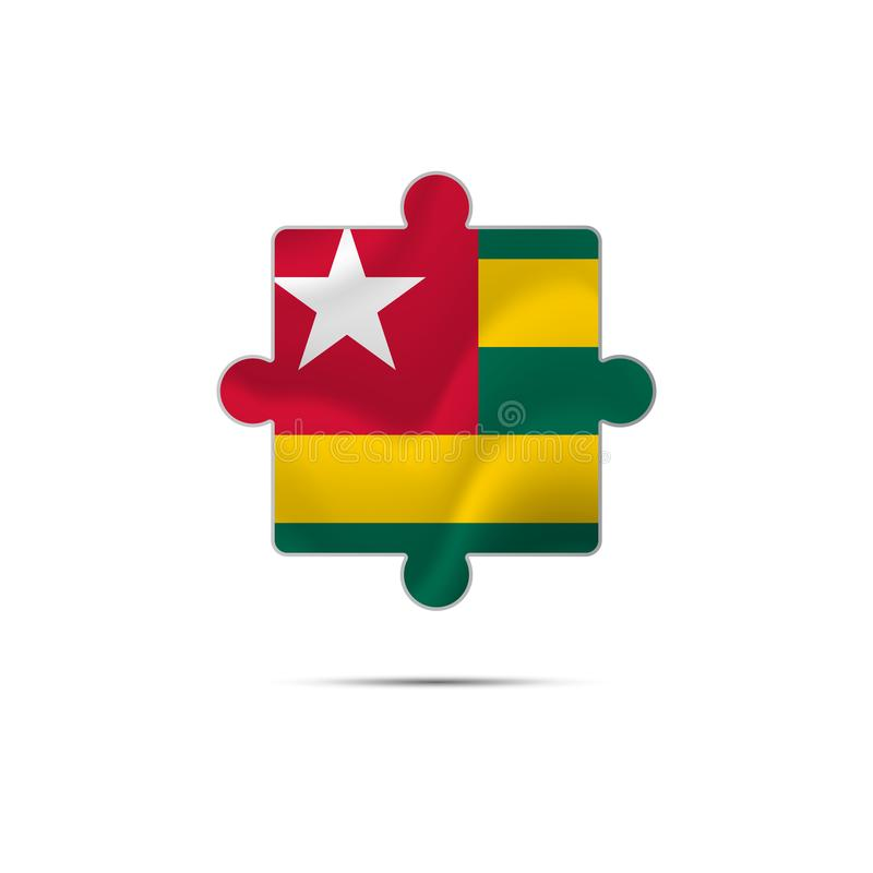 Lokalisiertes Stück des Puzzlespiels mit der Togo-Flagge Auch im corel abgehobenen Betrag lizenzfreie abbildung