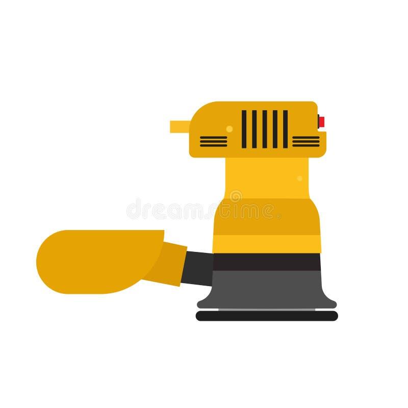 Lokalisiertes Werkzeug der Sandpapierschleifmaschinevektor-Ikone Ausrüstung Errichtender reibender Bodenbelag der Arbeitshandwerk stock abbildung