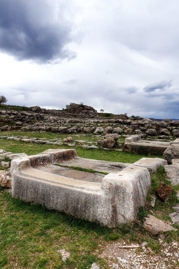 Lokalizuje w kapitale Hittite Corum prowincja w Czarnym Dennym regionie Indyczy Hattusa antyczny miasto lokalizować blisko mod fotografia stock