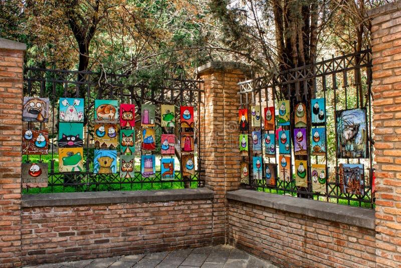 Lokalna sztuka na ulicach w mieście Tbilisi, Gruzja obraz stock