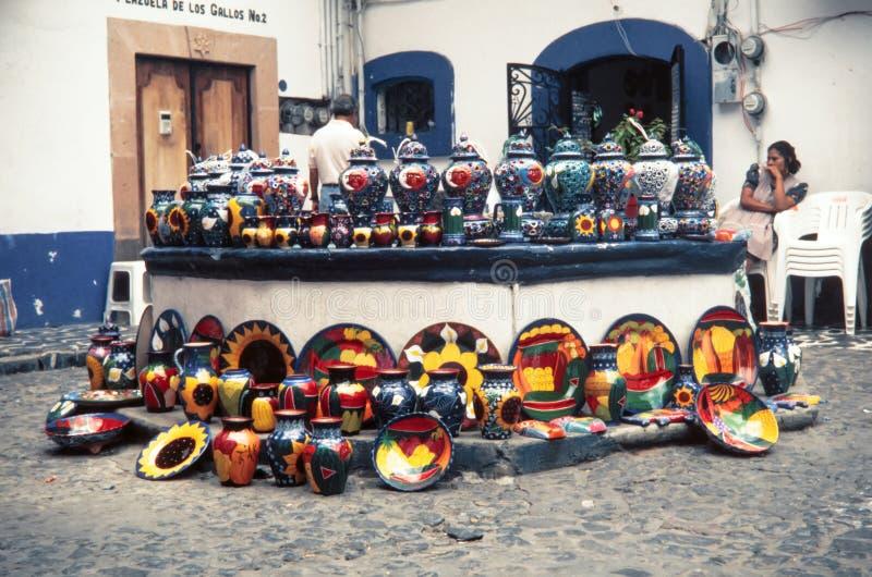 Lokalne aztec pamiątki robić ceramics zdjęcie royalty free