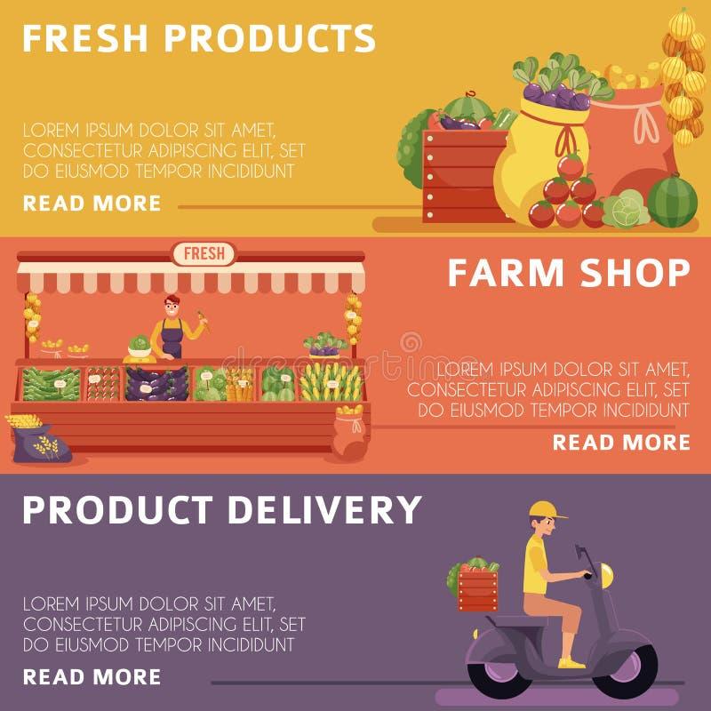 Lokalni rolnika rynku produkty, doręczeniowi plakaty ilustracja wektor