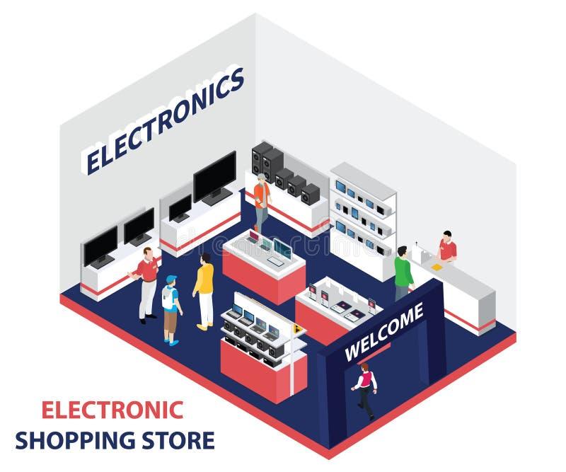 lokalny elektroniczny sklep dokąd ludzie Kupują elektroniki Isometric grafikę ilustracja wektor