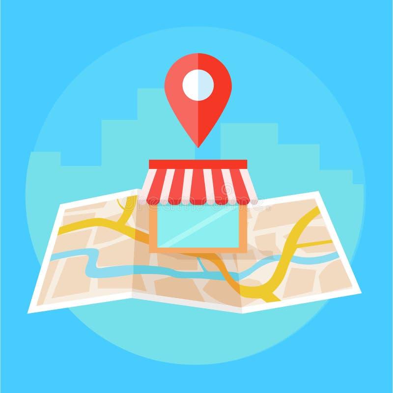 Lokalny seo sztandar, mapa i sklep w realistycznym widoku, royalty ilustracja