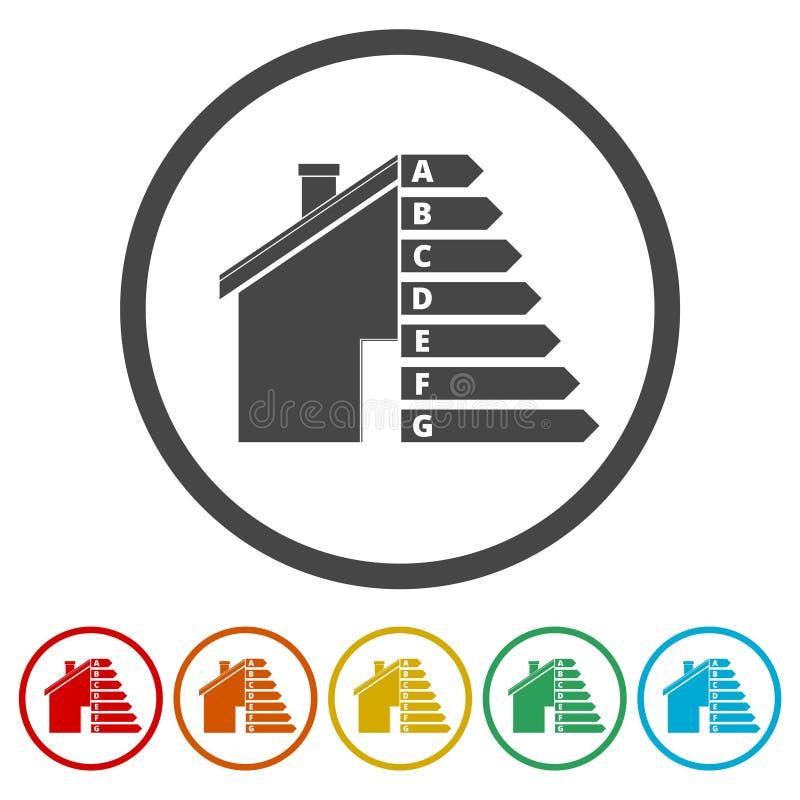 Lokalowa wydajność energii, dom i wydajności energii pojęcie, 6 kolorów Zawierać ilustracja wektor
