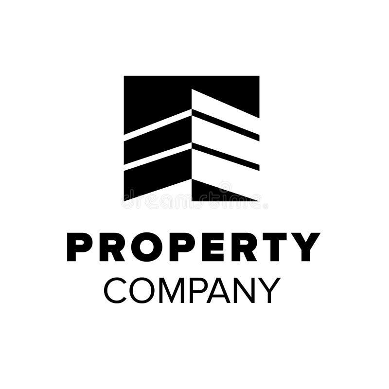 Lokalowy logo Majątkowy symbol budynek abstrakcjonistyczna ilustracja Czarny nieruchomość loga szablon royalty ilustracja