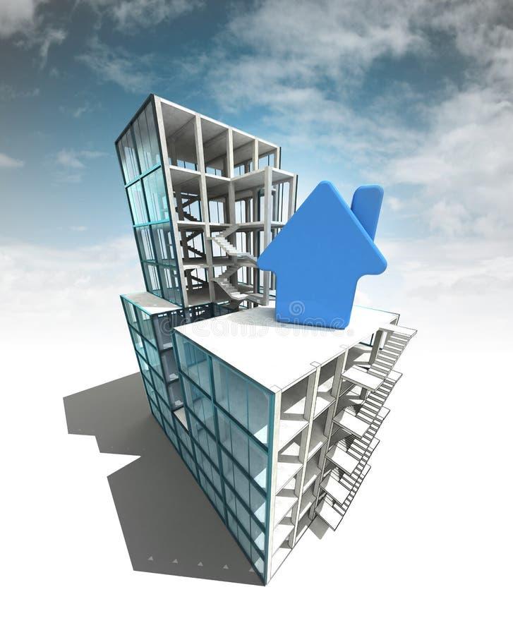 Lokalowy pojęcie architektoniczny budynku plan z niebem ilustracja wektor