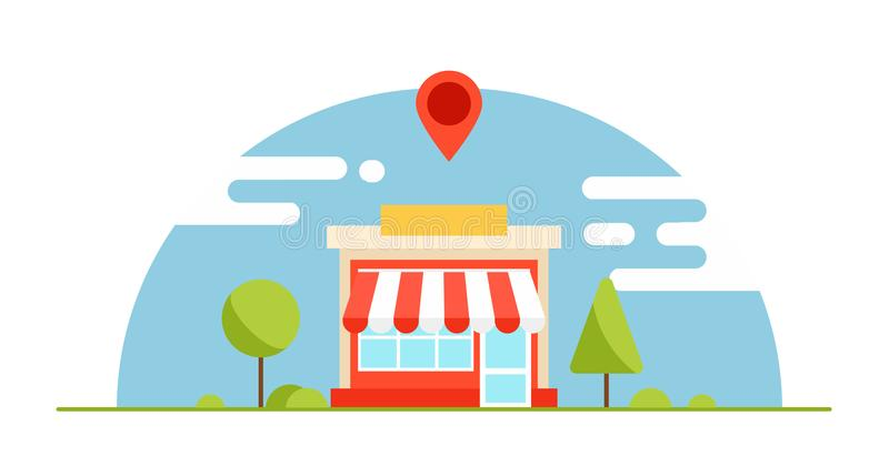 Lokalt affärsoptimizationbaner Shoppa är lönande Horisontalbakgrund med träd och berg royaltyfri illustrationer