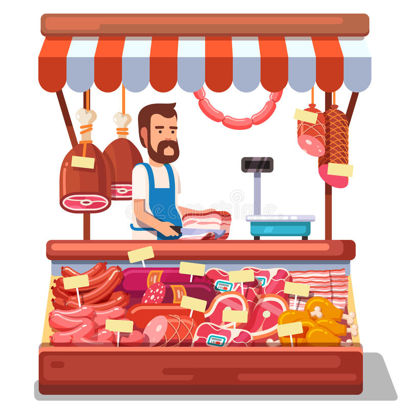 Lokalt kött för sälja för marknadsbonde nytt vektor illustrationer