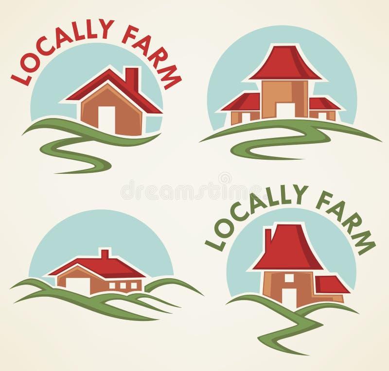 Lokalt lantgård stock illustrationer