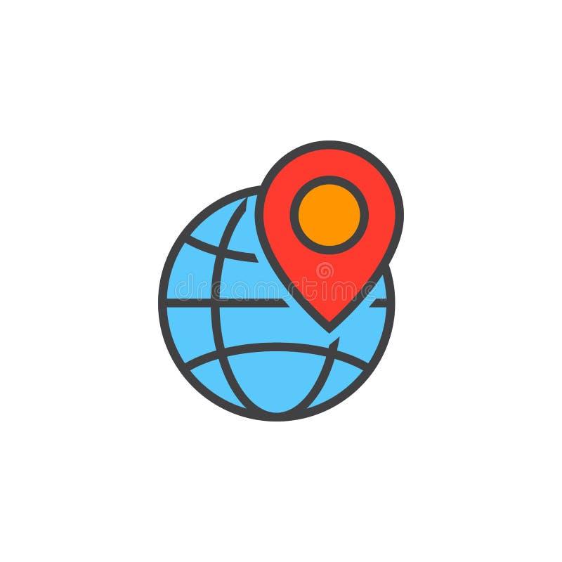 Lokalt seosymbol Jordklotet och lägemarkören fodrar symbolen, fylld ou vektor illustrationer