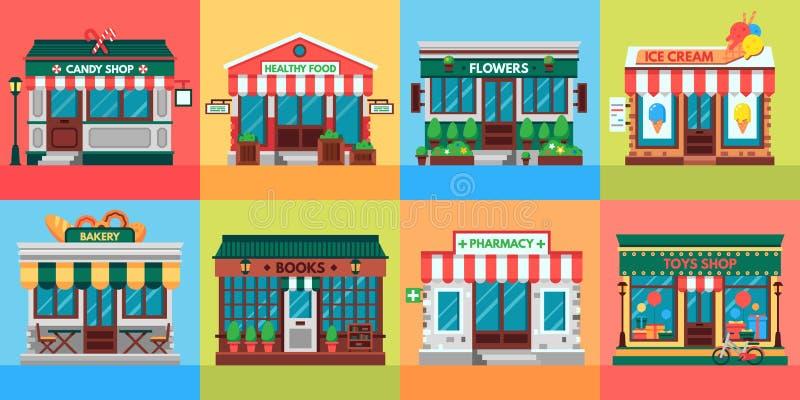 Lokalt shoppar fasader Speceriaffärdörrar, gammal framdel för boutiquelagerbyggnad och uppsättning för vektor för detaljistfasad  royaltyfri illustrationer