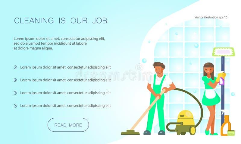 Lokalvård är vår jobbrengöringsdukdesign vektor illustrationer