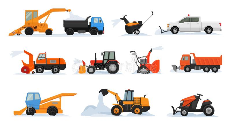 Lokalvård för bulldozer för grävskopa för medel för vinter för vektor för snöborttagning som tar bort den snöig uppsättningen för stock illustrationer