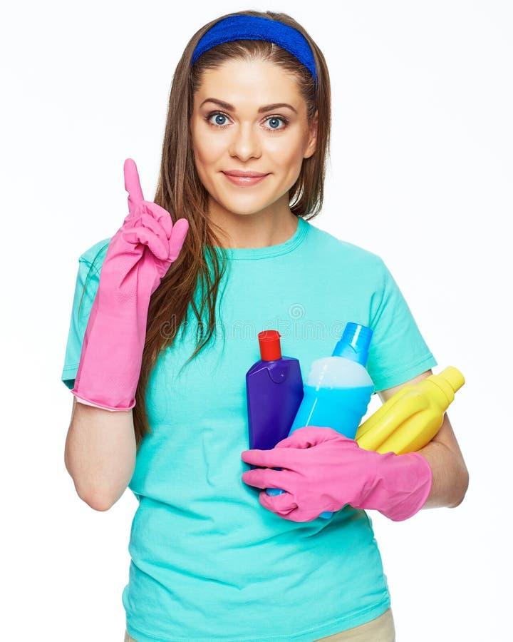 Lokalvård för kvinnaarbetare i kontor, hus arkivfoton