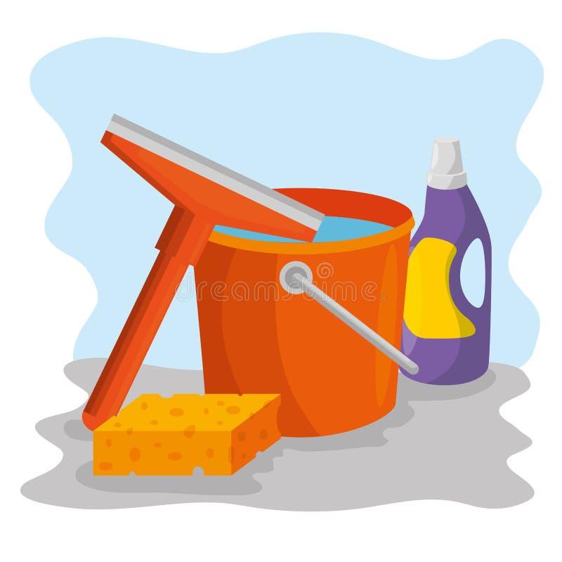 Lokalvårdtillförsel med hinksvamptvättmedel vektor illustrationer