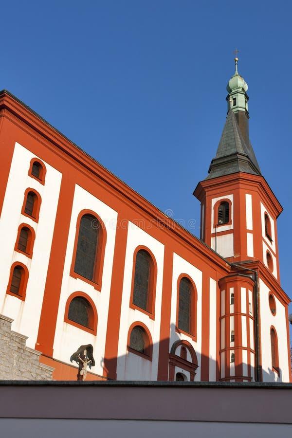 Loket church, Czech republic stock photography