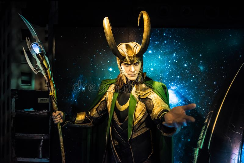 Loki, escultura de la cera, señora Tussaud fotos de archivo libres de regalías