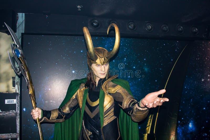 Loki, estatua de la cera, Amsterdam de señora Tussaud fotos de archivo libres de regalías