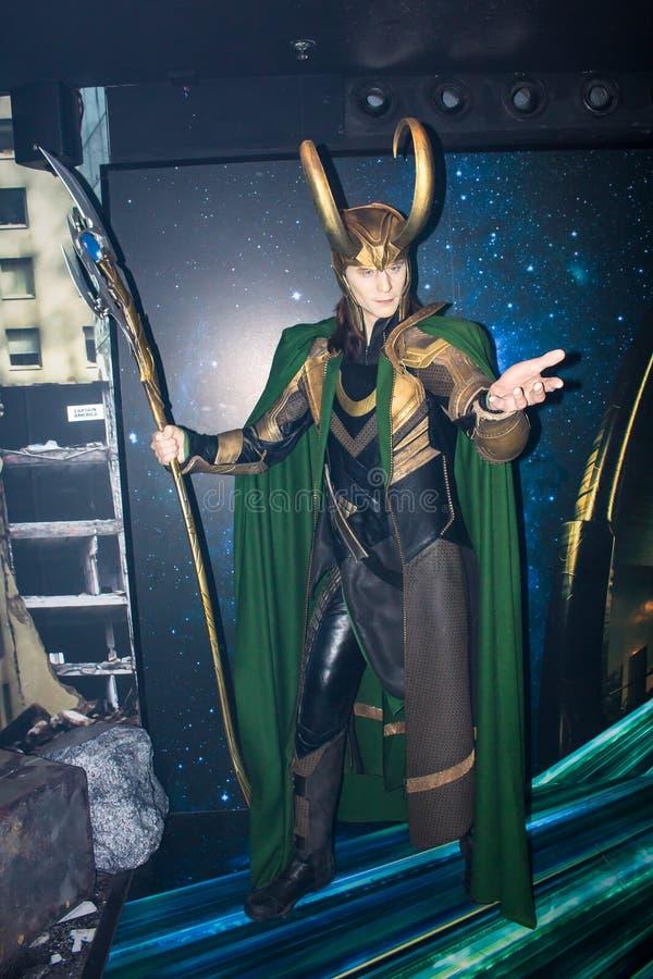 Loki, figura de cera, Amsterdão da senhora Tussaud imagens de stock royalty free