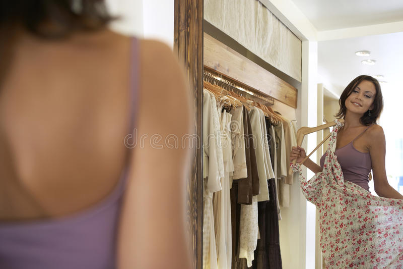 Lokking In Mirror Royalty Free Stock Image