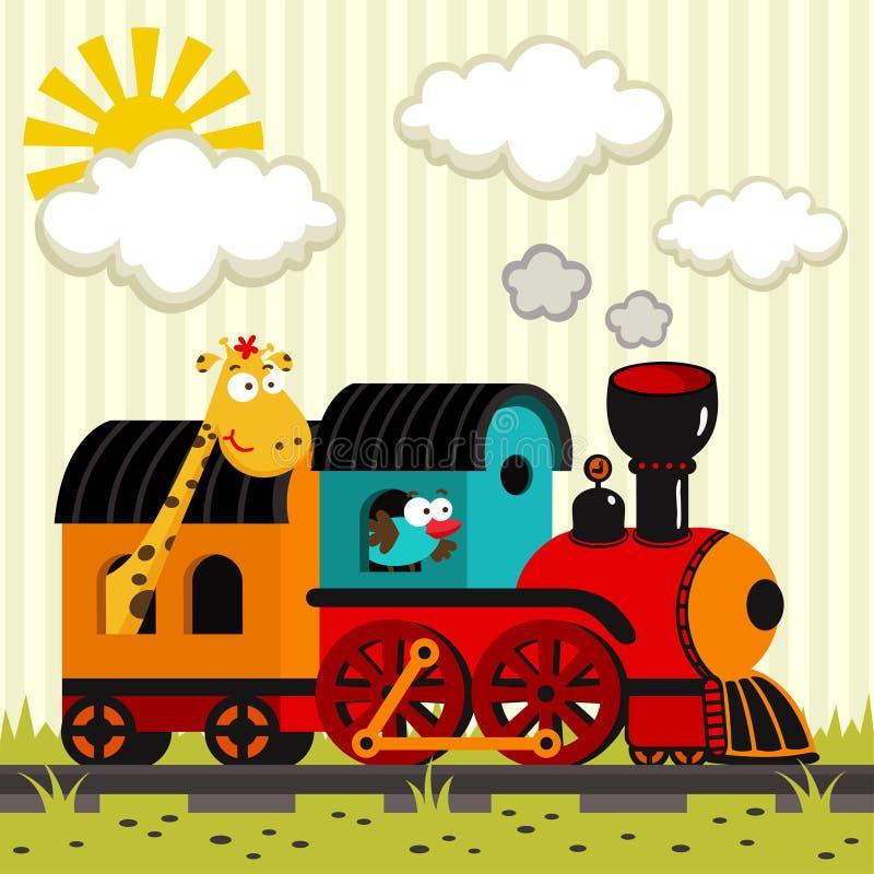 Lokomotiv med en giraff och en fågel stock illustrationer