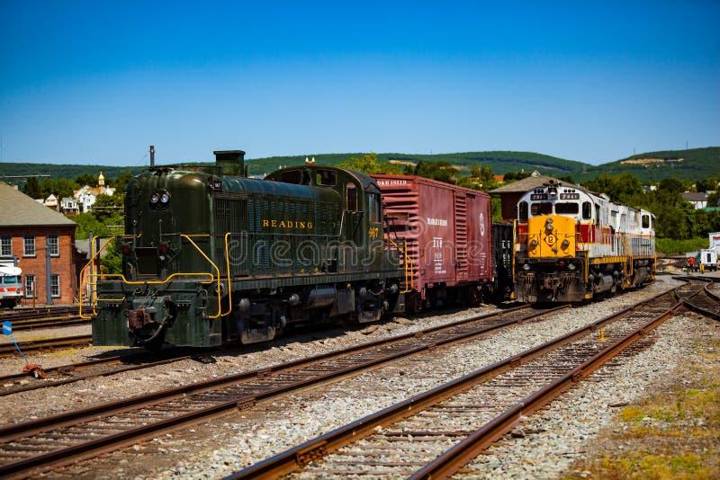 Lokomotiv på Steamtown den nationella historiska platsen i Scranton royaltyfri bild