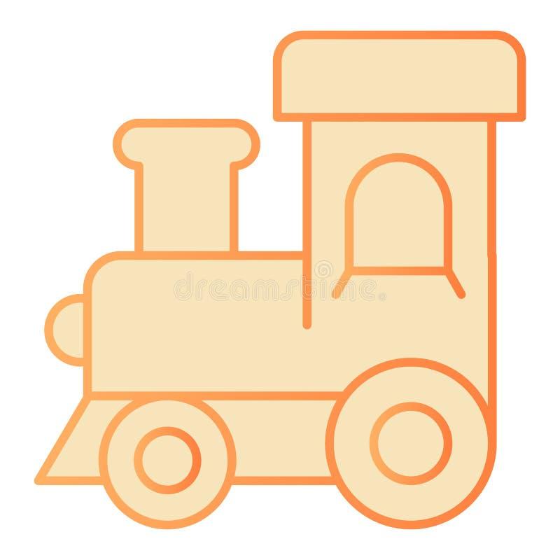 Lokomotoryczna płaska ikona Taborowe zabawkarskie pomarańczowe ikony w modnym mieszkaniu projektują Dziecko gradientu stylu zabaw royalty ilustracja