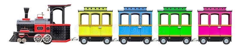 Lokomotywa dla dzieciaków z furgonami Dziecko pociąg z kołami zdjęcie royalty free