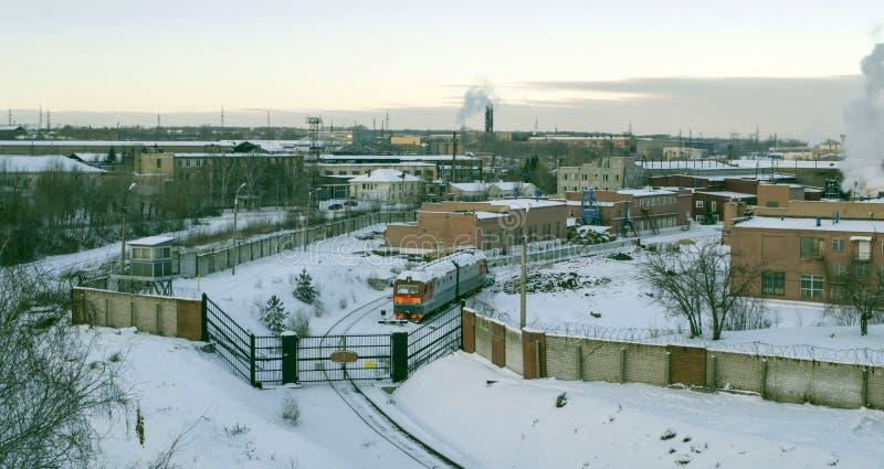 Lokomotywy naprawy roślina w Chelyabinsk Brama dla lokomotyw fotografia royalty free