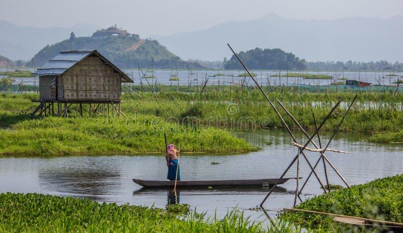 Loktak jezioro, Manipur, Azja ` s wielki słodkowodny jezioro, India fotografia royalty free