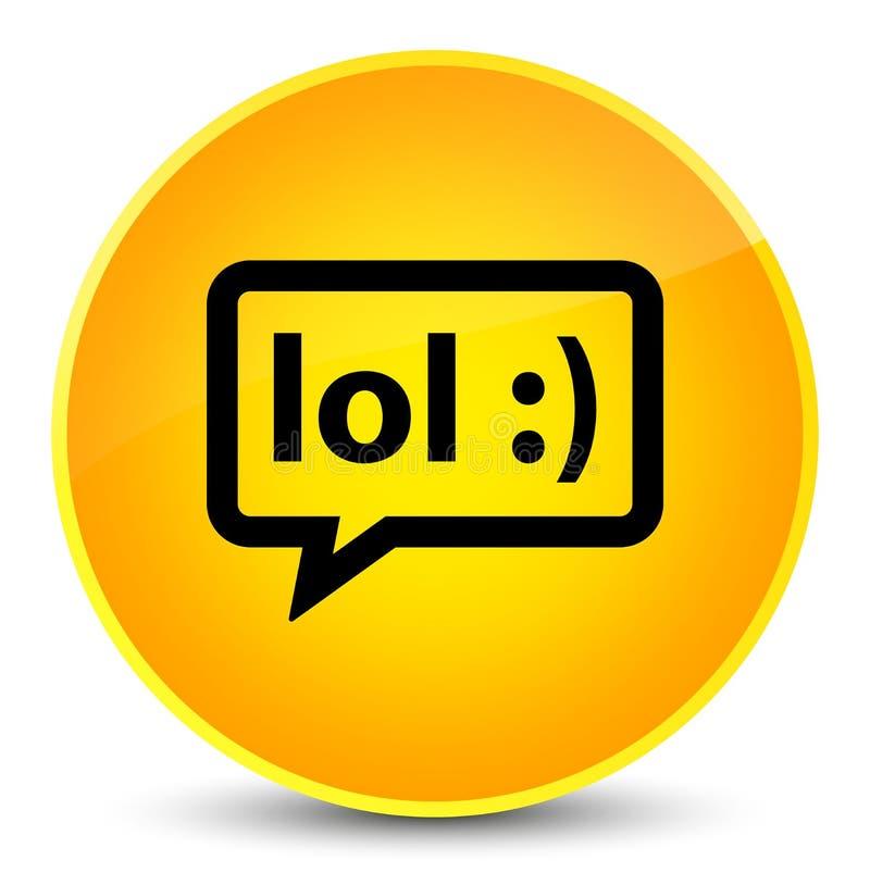 LOL bubble icon elegant yellow round button. LOL bubble icon isolated on elegant yellow round button abstract illustration stock illustration