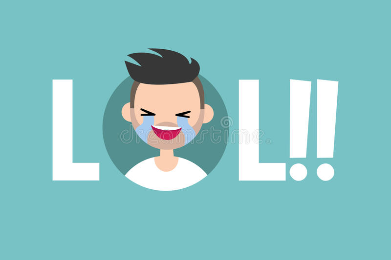 LOL conceptual illustrated sign. laughing out loud boy stock illustration