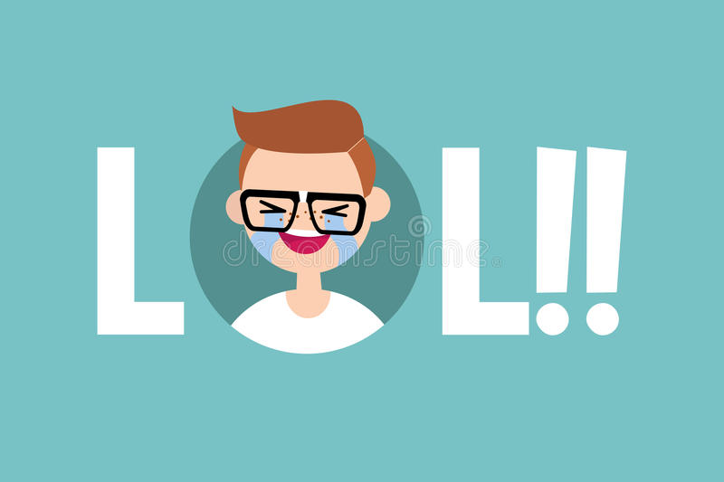 LOL conceptual illustrated sign: laughing out loud nerd vector illustration