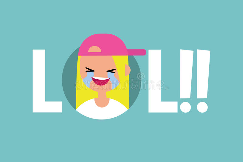 LOL conceptual illustrated sign: laughing out loud teenage girl. / flat illustration royalty free illustration